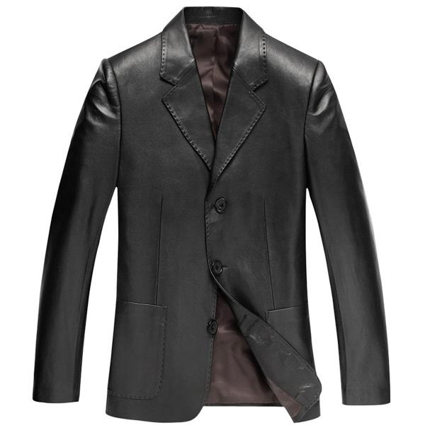 Áo Jacket nam da cừu giả vest viền chỉ nổi NNA