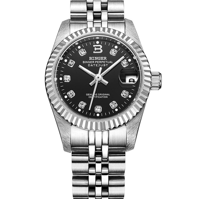Đồng hồ cơ nữ mốc giờ nạm đá Binger